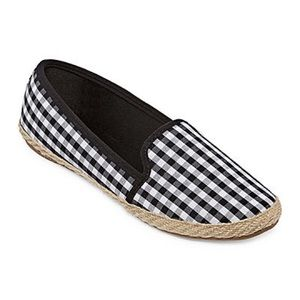 Black & White Gingham Slip On Espadrille NEW SZ 9